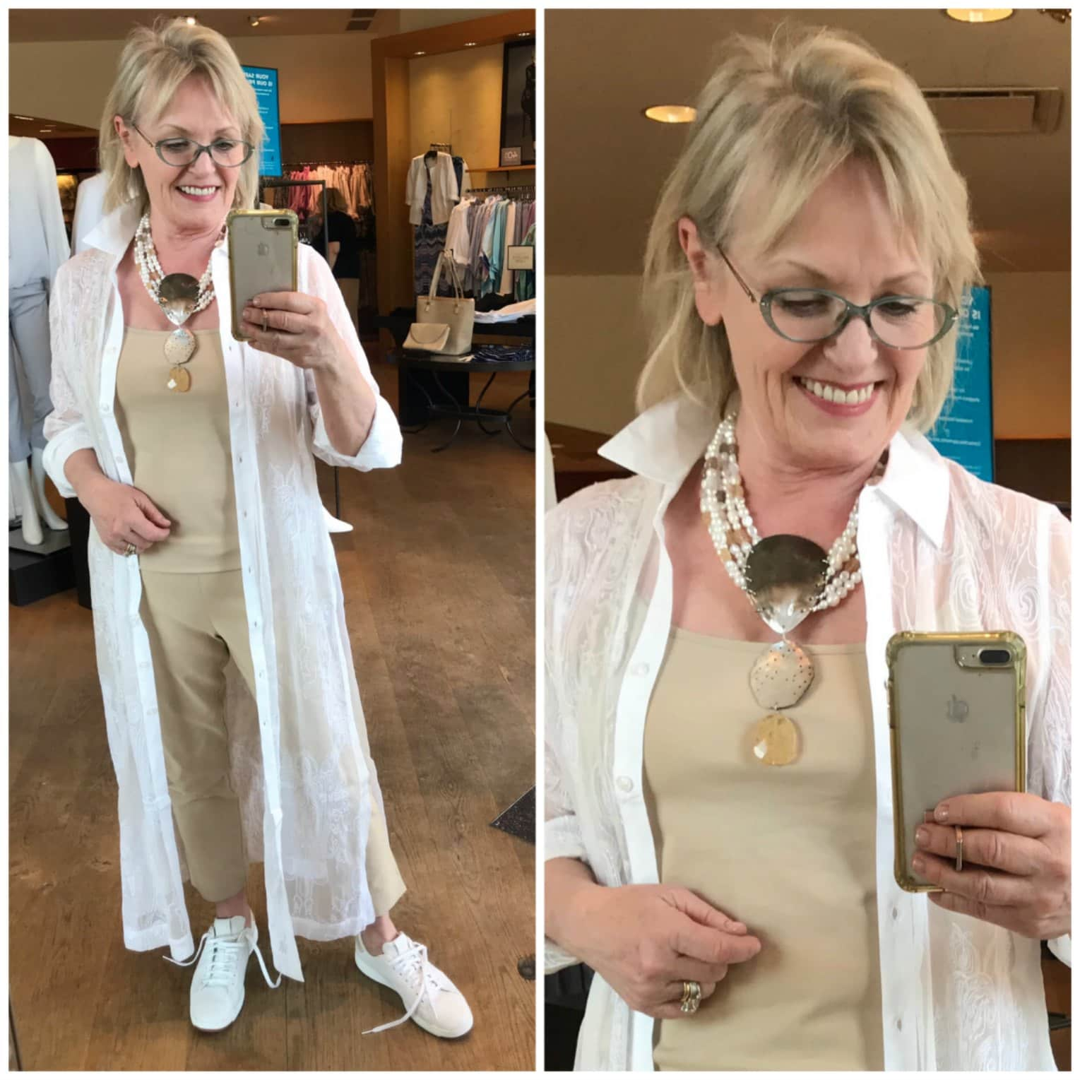 column of beige from chico's with whote duster