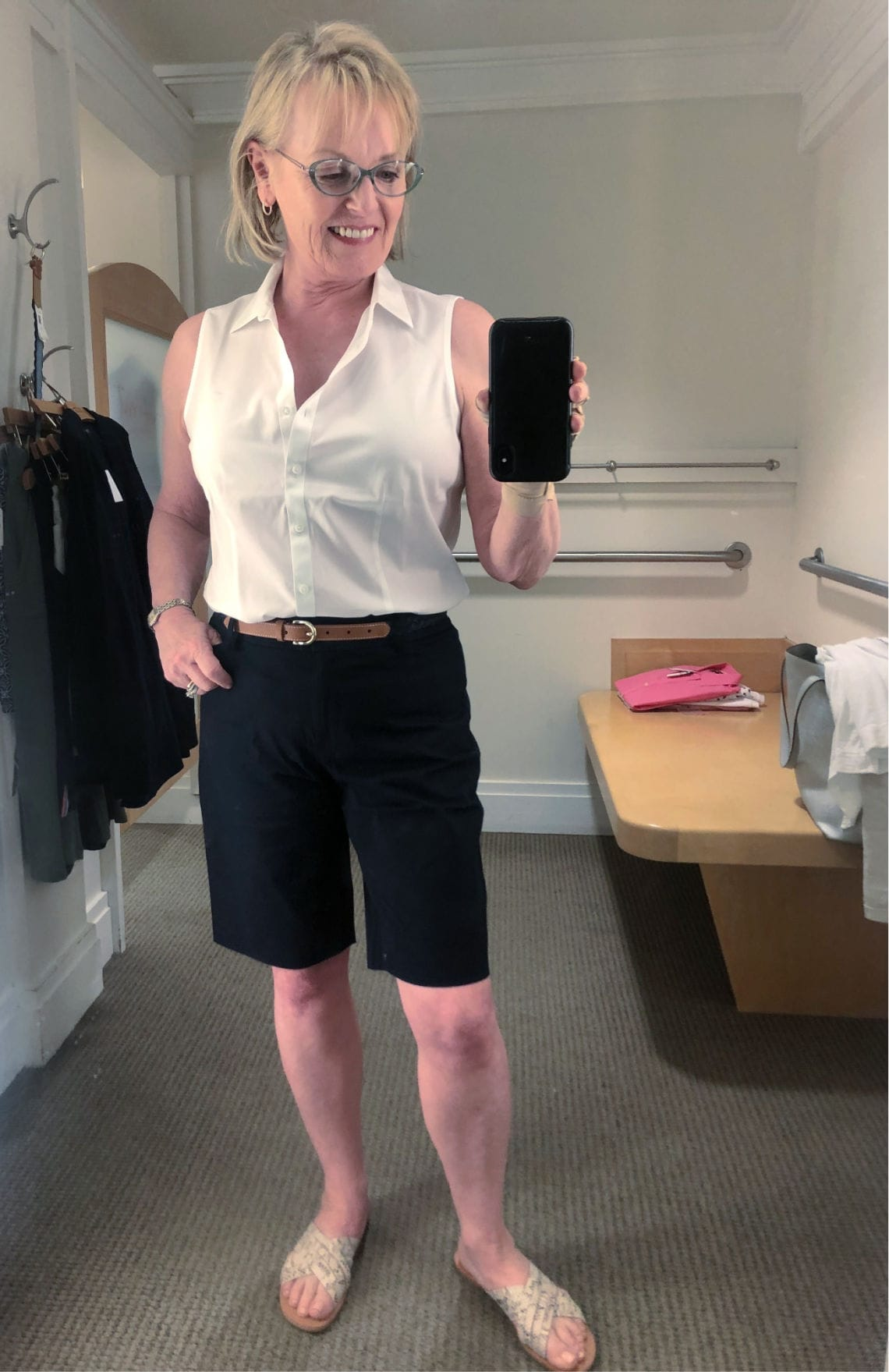 Jennifer Connolly of A Well Styled Life wearign Talbots bermuda shorts and sleeveless white shirt