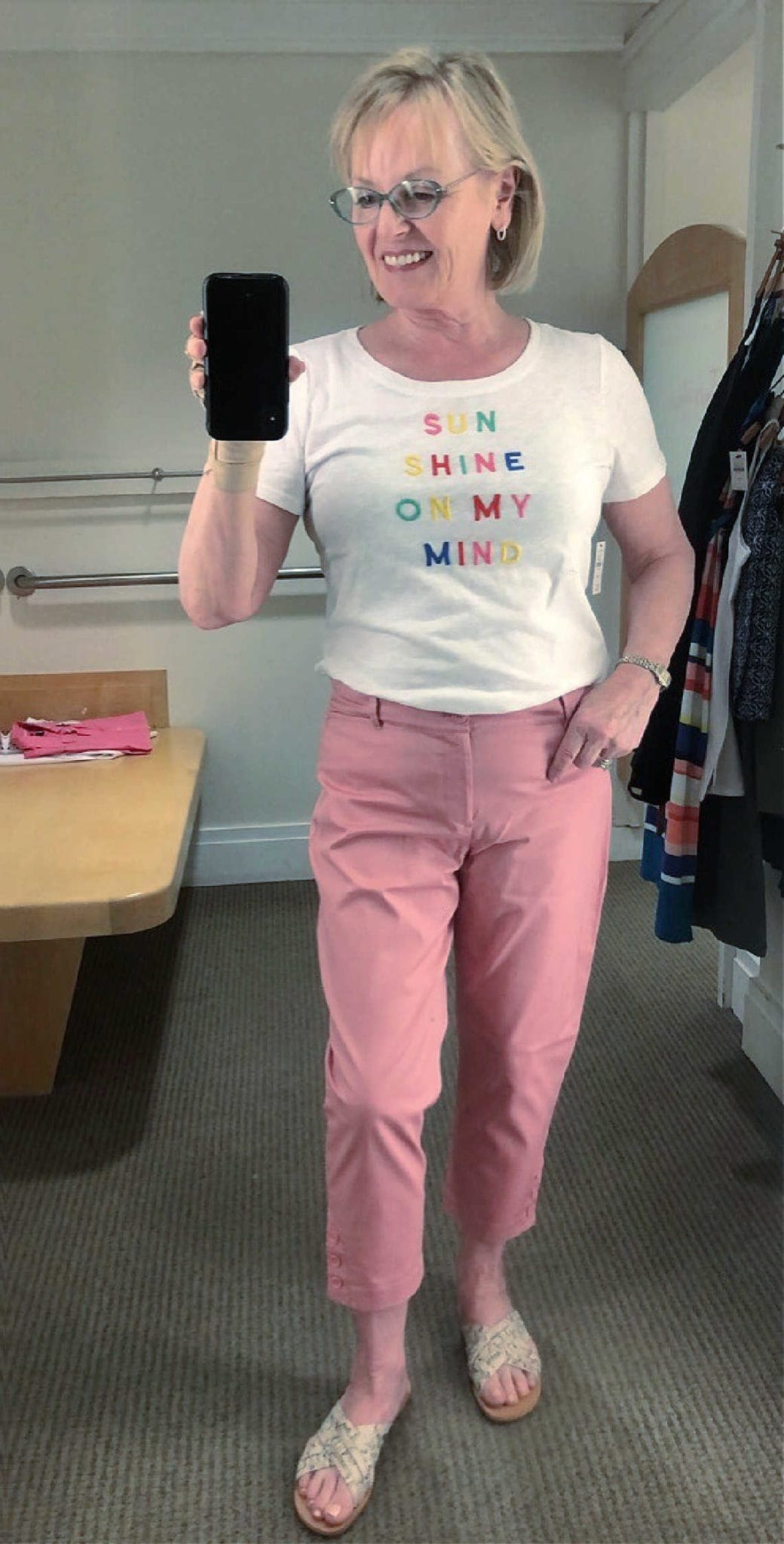 Jennifer Connolly wearign Talbots chino and graphic tee