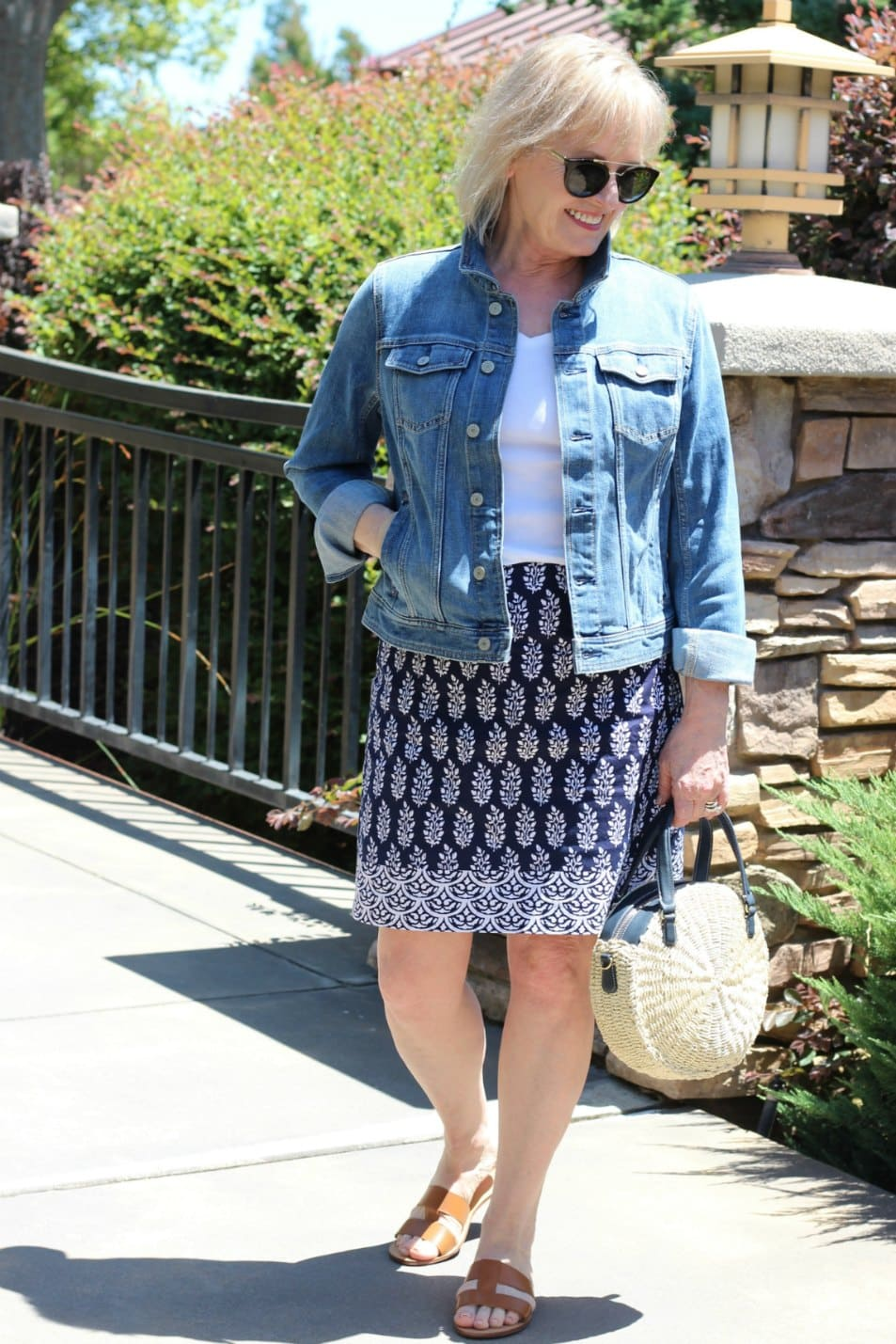 Jennifer Connolly wearign Talbots cotton skirt and denim jacket