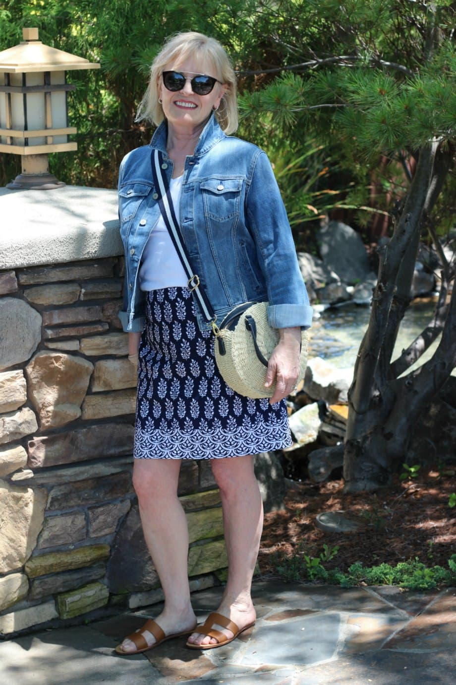 Jennifer Connolly styling casual outfit with denim jacket from Talbots