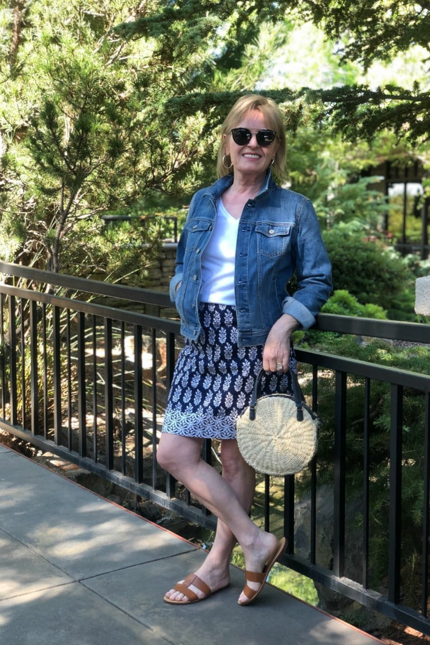 petite over 50 blogger wearing Talbots denim jacket and cotton skirt