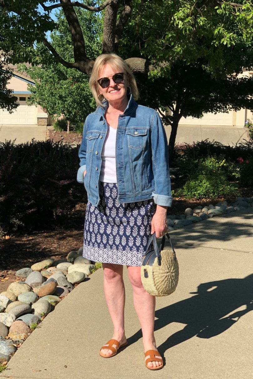 denim jacket and blue cotton skirt on Jennifer Connolly