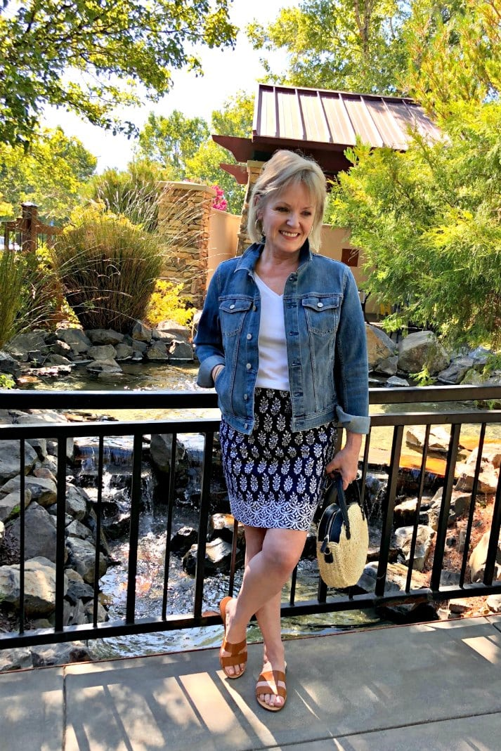 Casual outfit with denim jacket and cotton skirt from Talbots on Jennifer Connolly