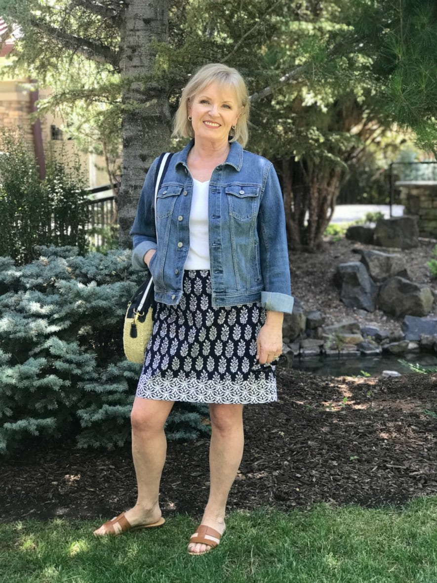Jennifer Connolly wearing Talbots denim jacket and cotton geo print skirt