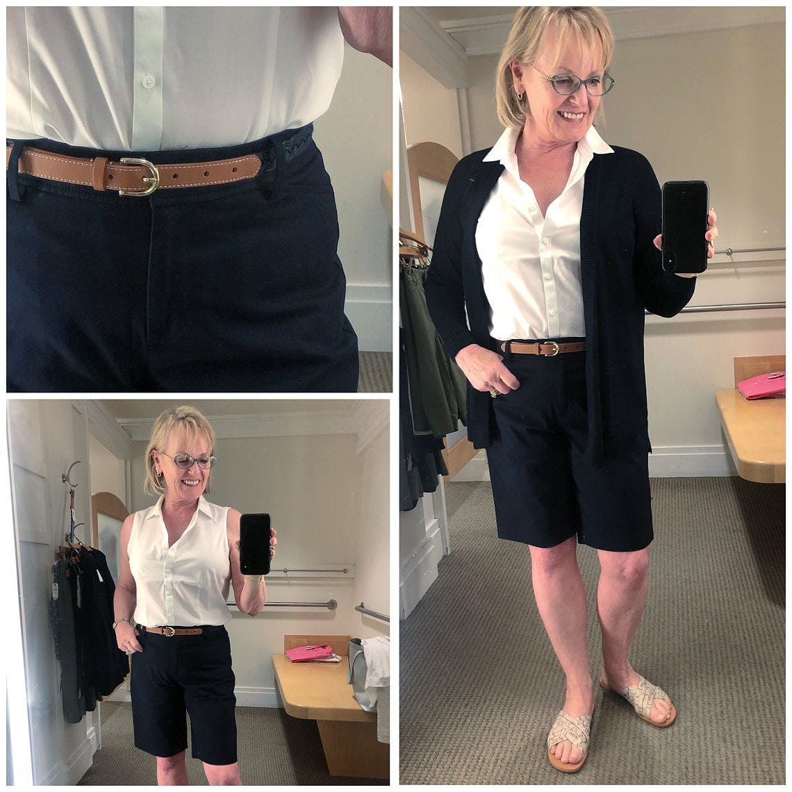 Jennifer Connolly wearing bermuda shorts and cardigan from Talbots