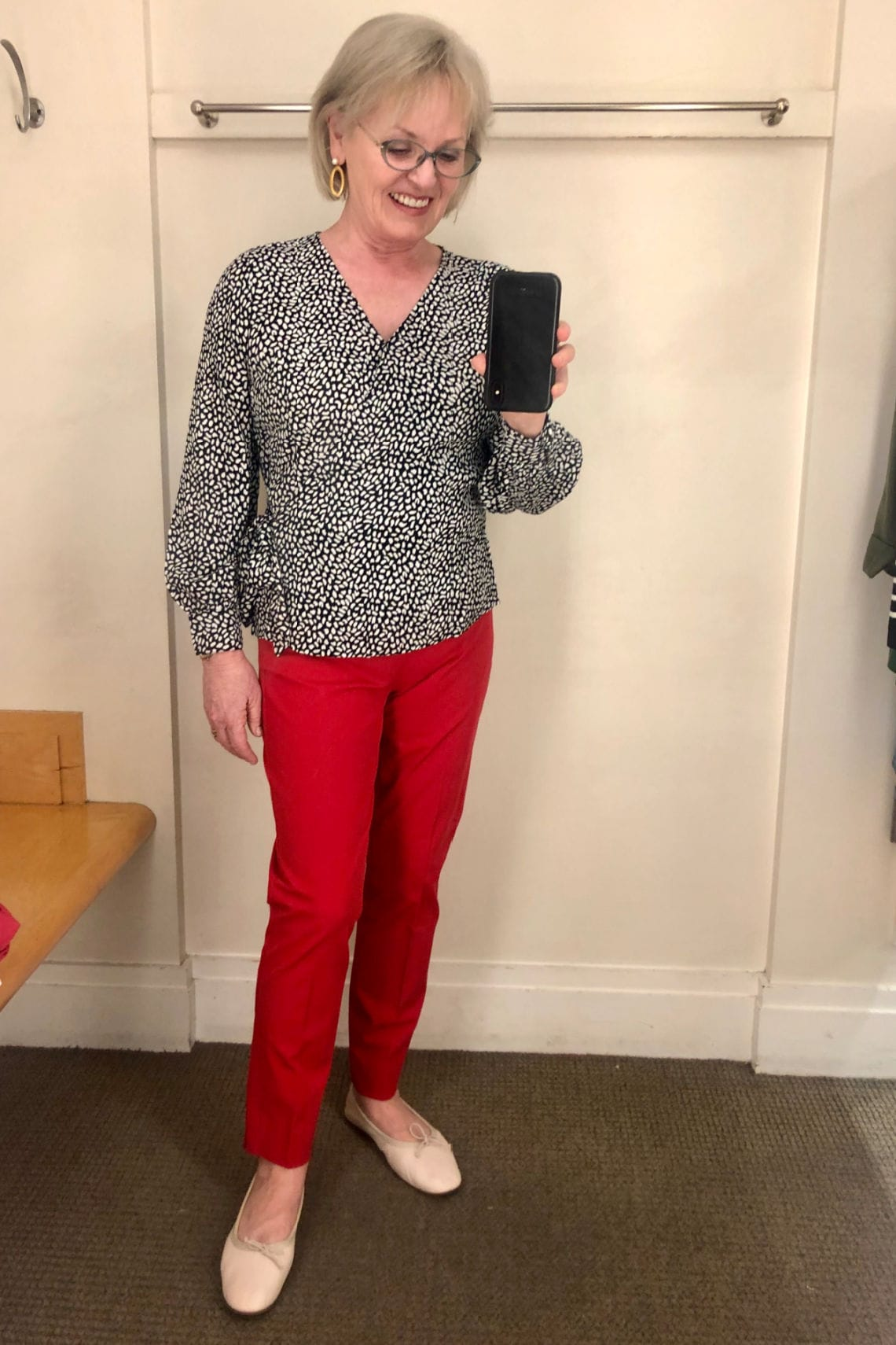 fashion blogger Jennifer Connolly wearing Talbots leopard shirt and red pants
