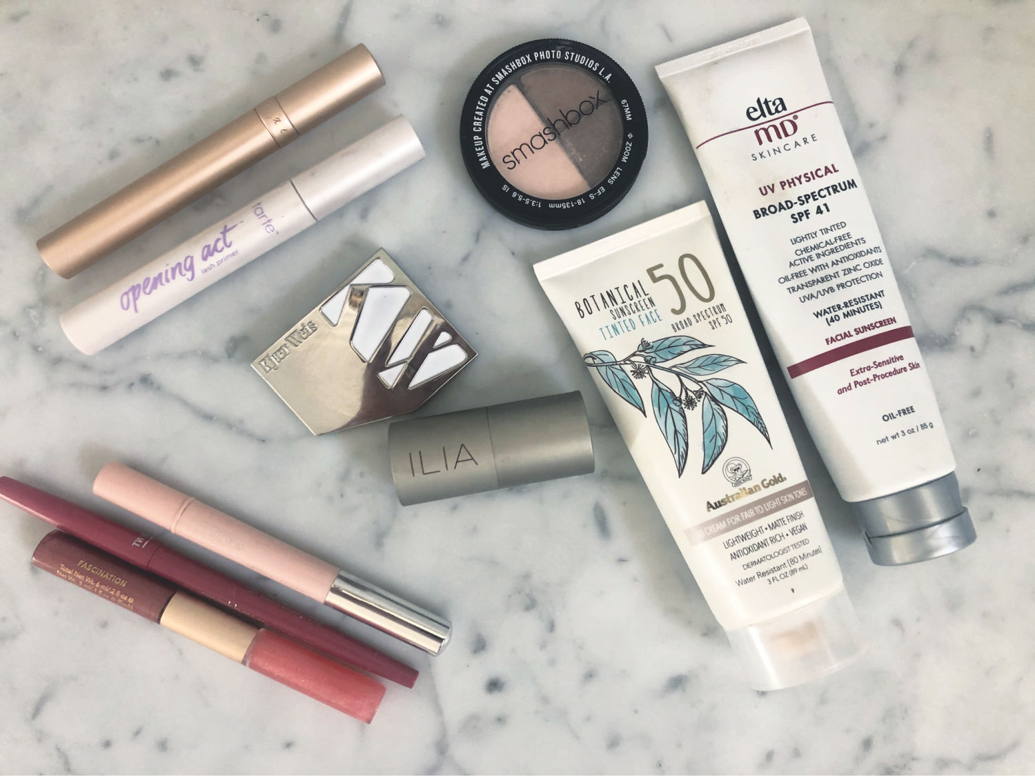 products for a simple six minute makeup routine