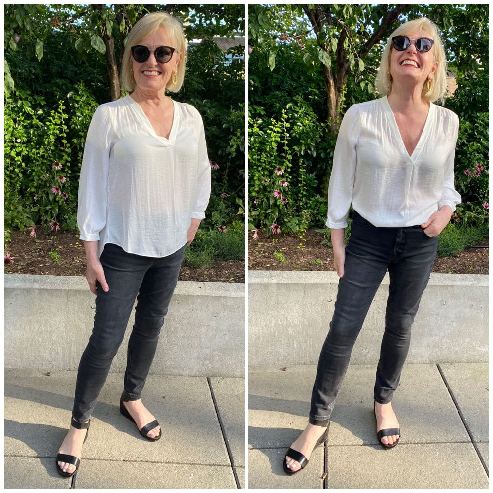 fashion blogger jennifer connolly showing vince camuto blouse tucked and untucked