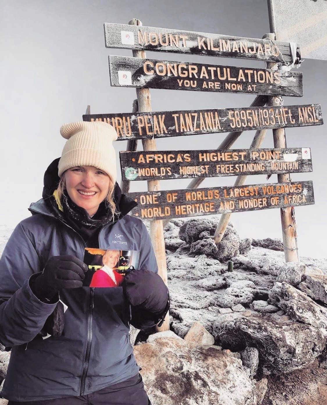 vanessa connolly on top of Mt Kilimanjaro