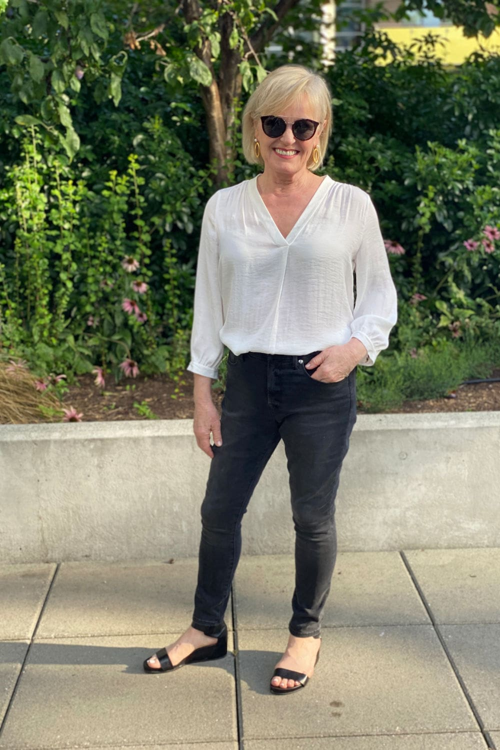 fashion blogger on A Well Styled Life wearing Vince Camuto blouse