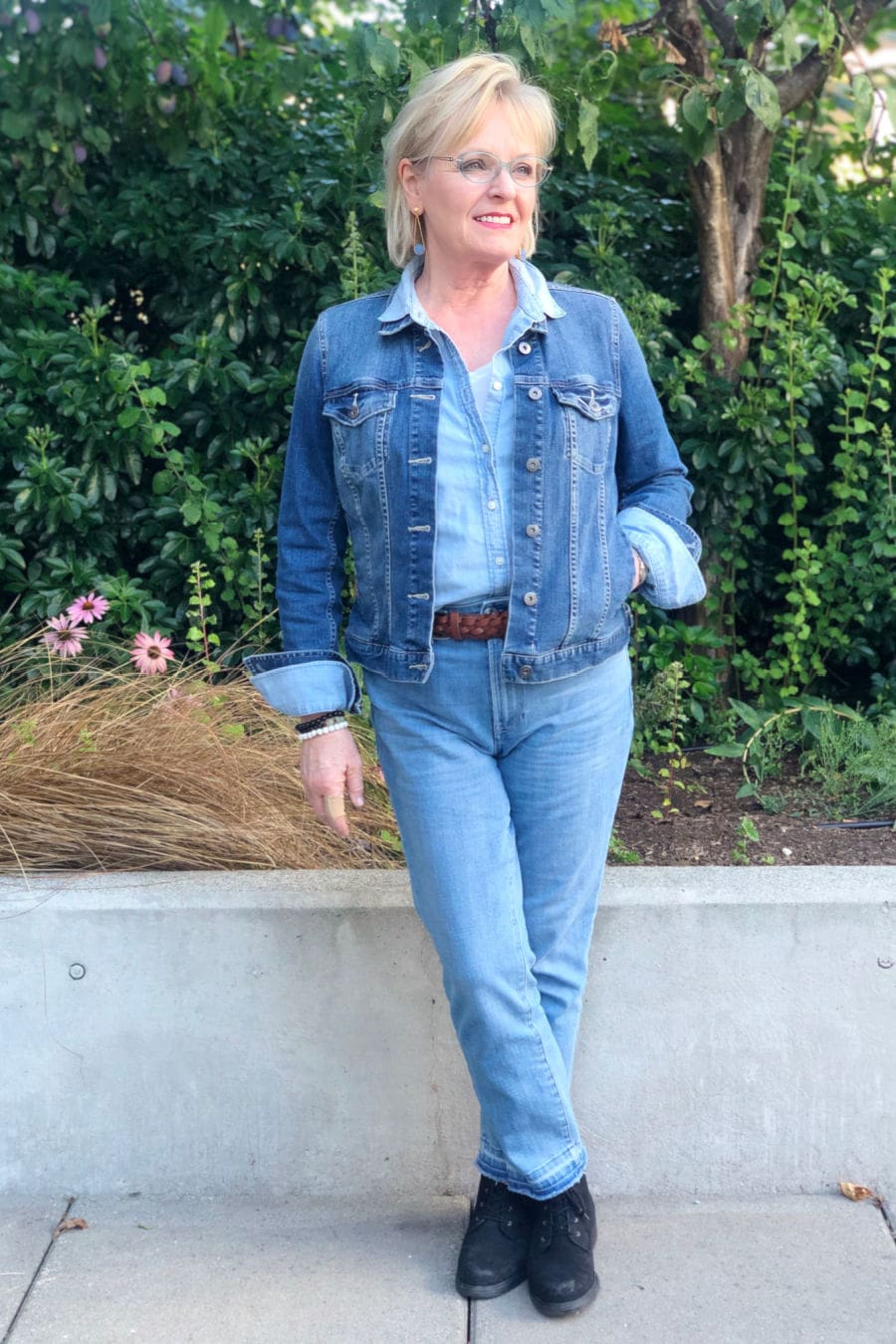 Fashion blogger A Well Styled Life wearing Canadian tuxedo from Talbots and Nordstrom
