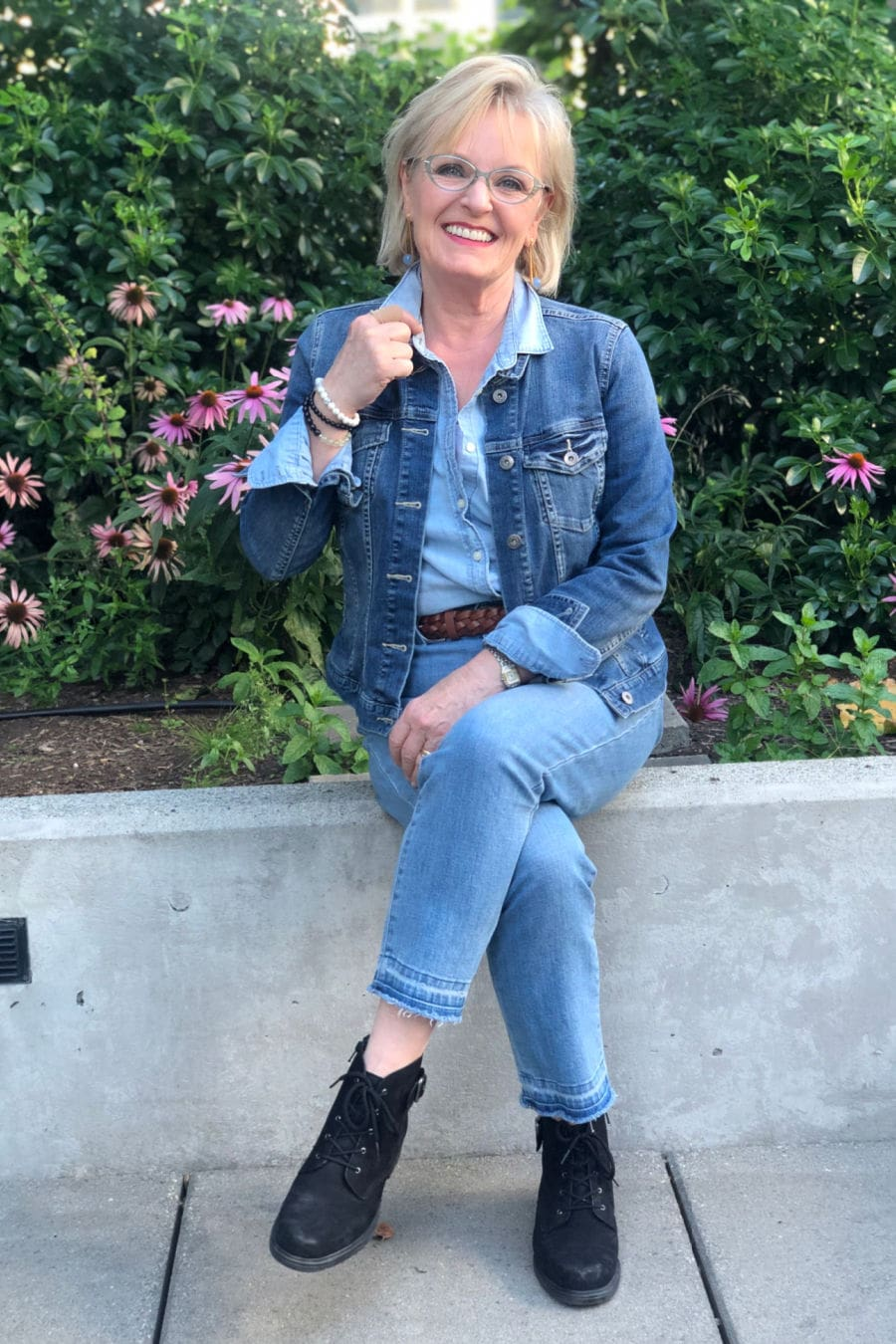 over 50 fashion blogger A Well Styled Life wearing casual double denim outfit