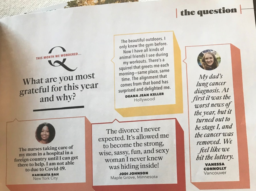 readers answers in oprah magazine on gratitude