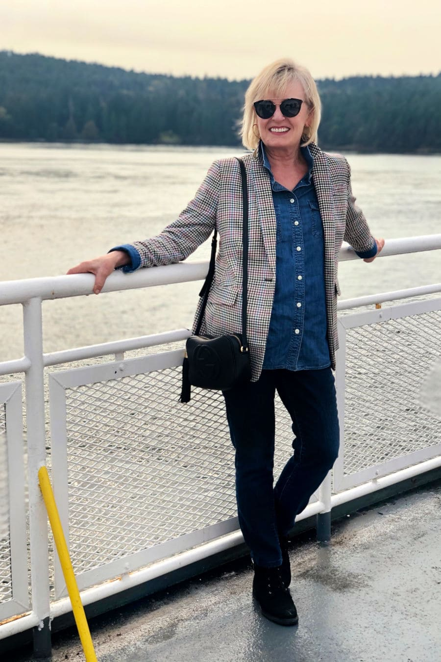 jennifer connolly on ferry to victoria wearing plaid blazer and black jeans