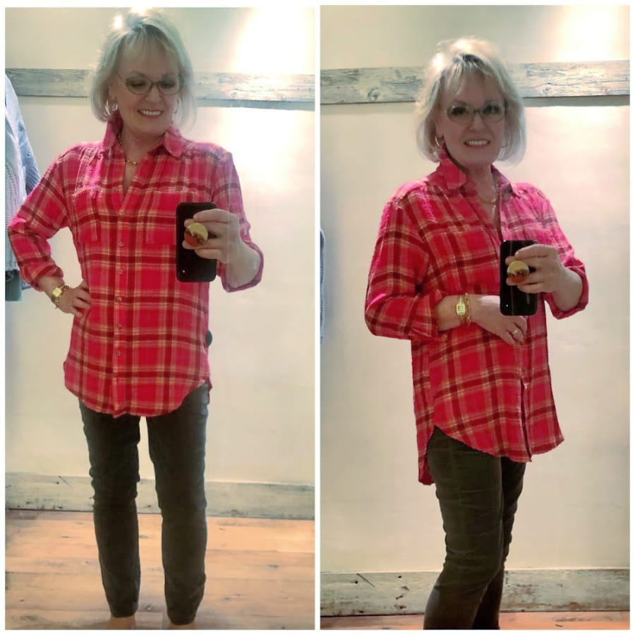 jennifer connolly wearing plaid shirt and cords in Anthropologie dressing room