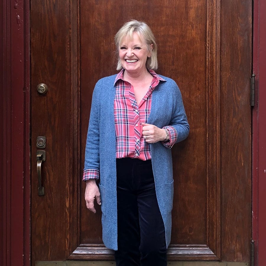 plaid shirt and blue cardigan on jennifer of a well styled life