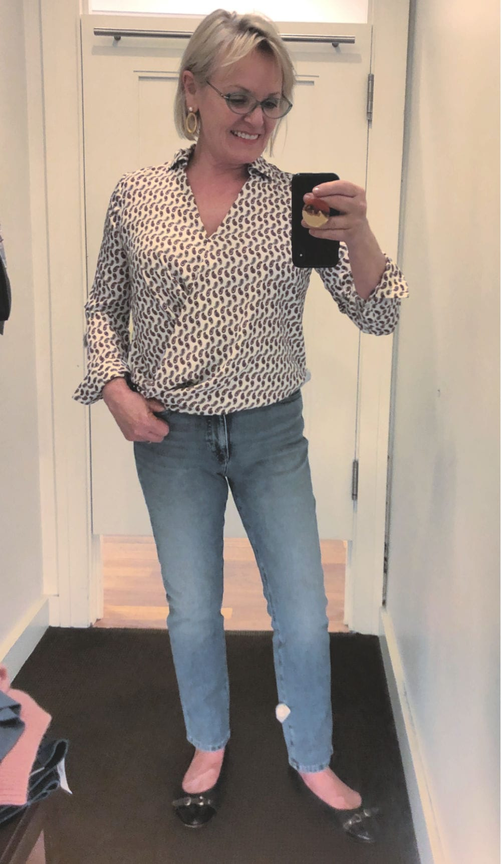fashion blogger jennifer connolly in banana republic dressing room