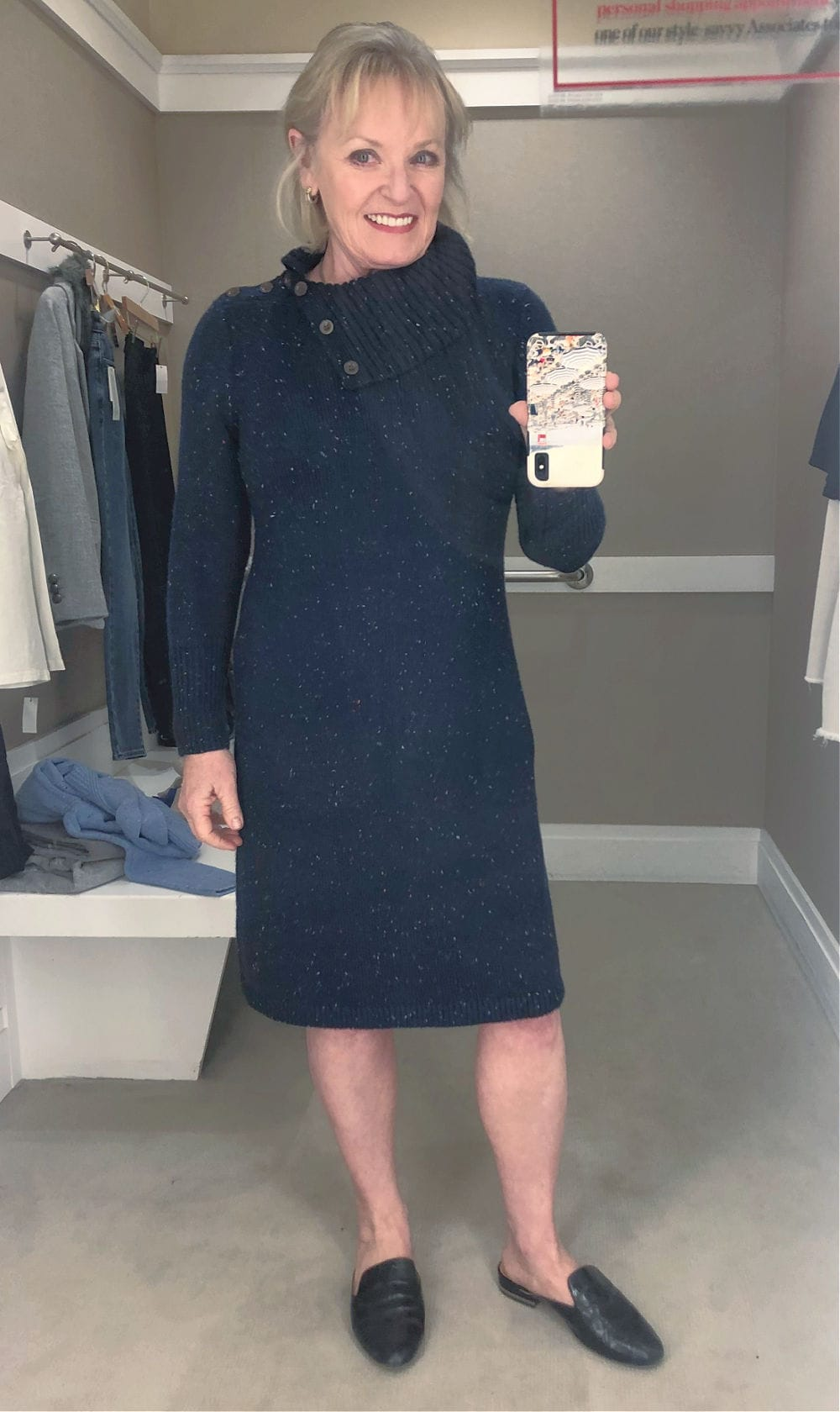 fashion blogger jennifer of a well styled life wearing sweater dress from Talbots