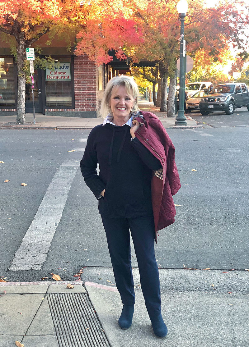 fashion blogger jennifer connolly of a well styled life wearing navy sweater, navy T Talbots yoga pants and navy suede boots from talbots