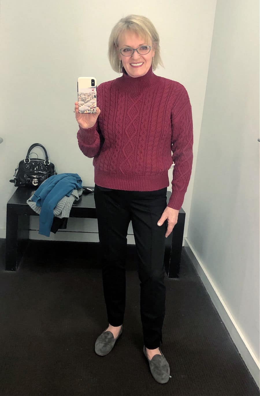 jennifer of a well styled life wearing cabled sweater at banana republic