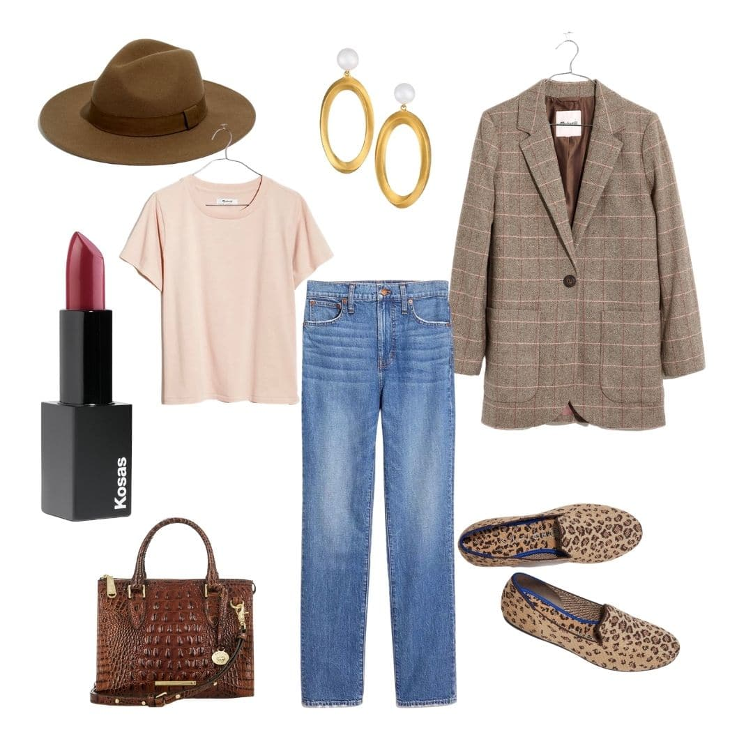 collage of madewell blazer, blue jeans, fedora and leopard flats from Rothy's