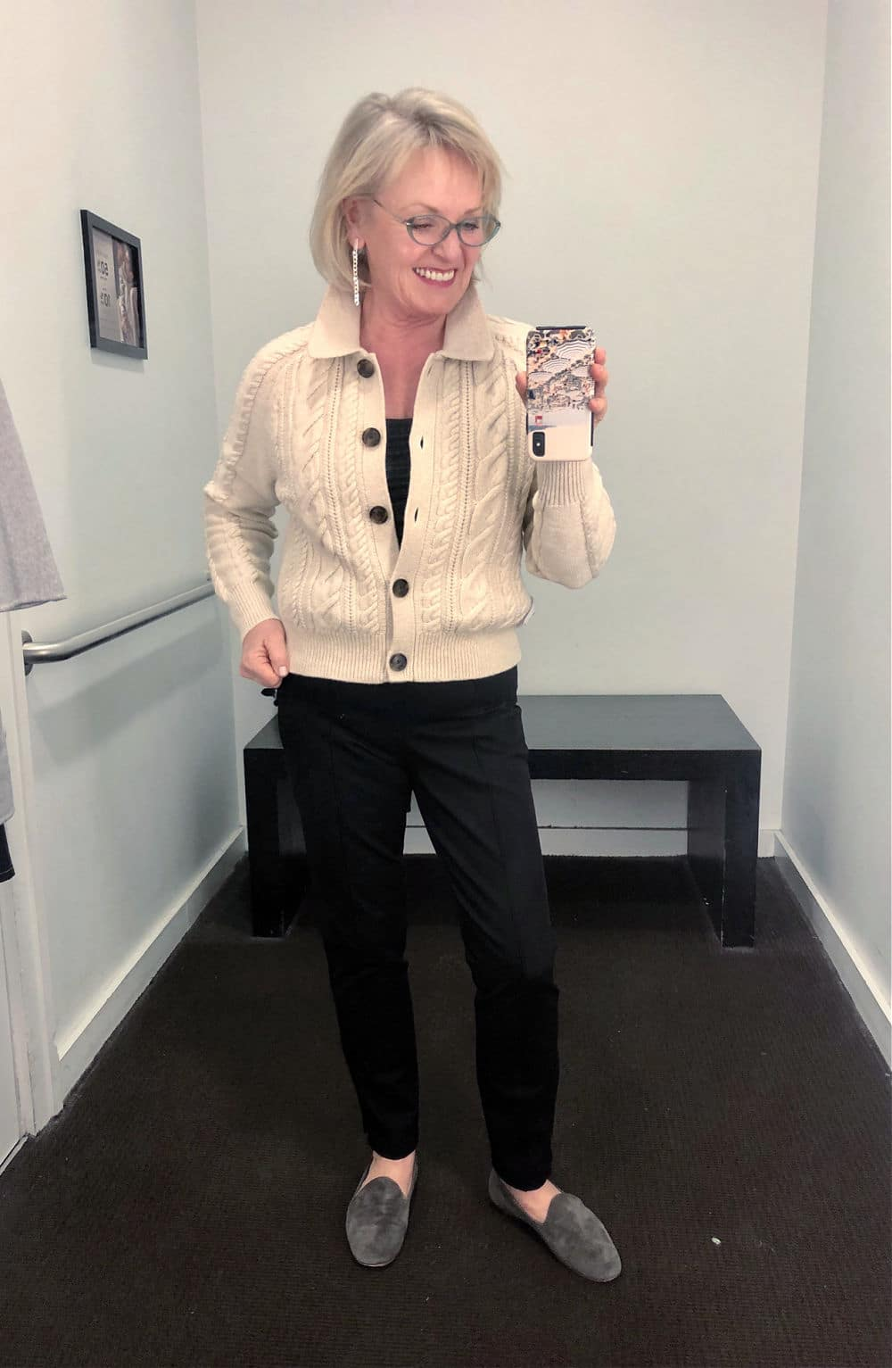 cabled cardrigan sweater on jennifer of a well styled life