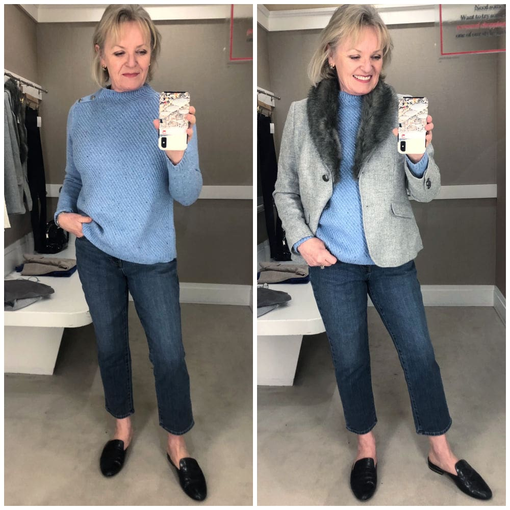 jennifer of a well styled life wearing bluen sweater grey bl;azer and blue jeans in Talbots dressing room