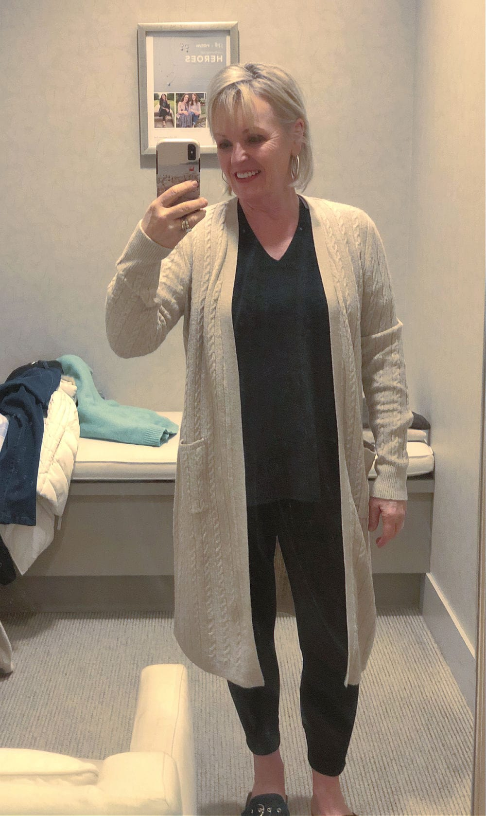 jennifer connolly wearing j jill long cardigan in changing room