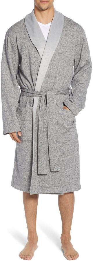 gray bathrobe
