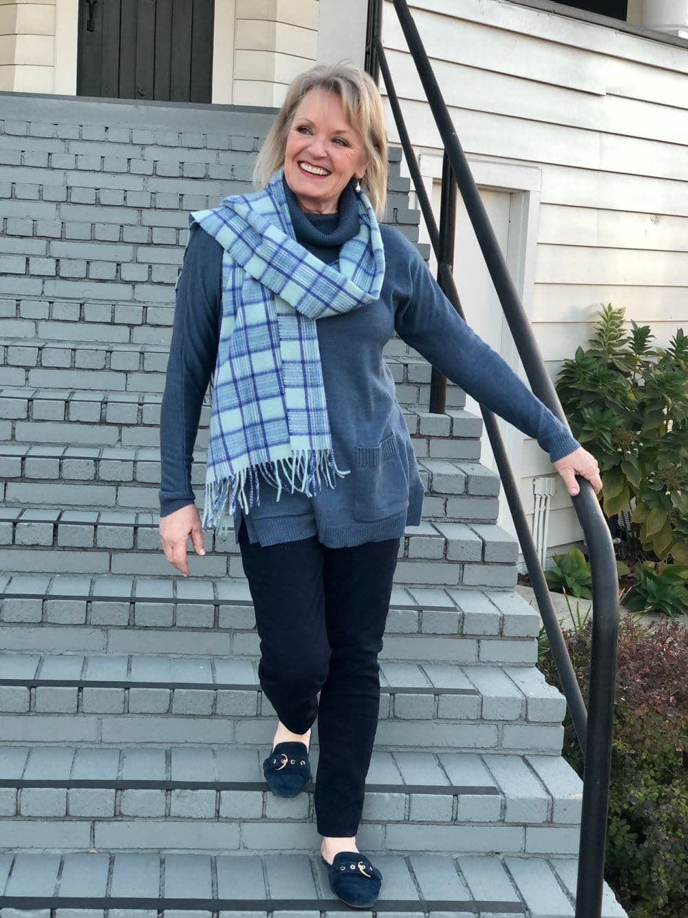 jennifer of a well styled life wearing talbots blue sweater and cashmere scarf