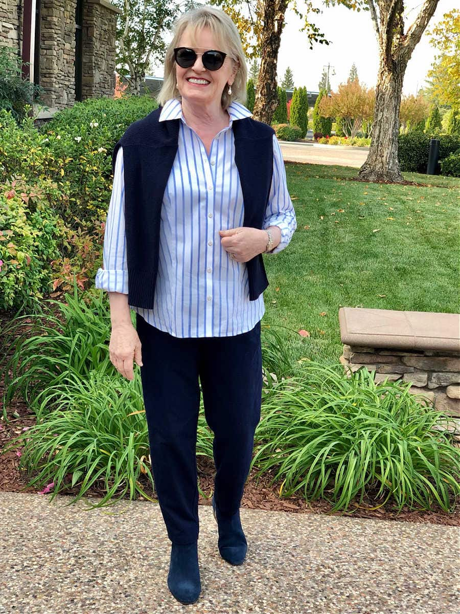 jennifer connolly of a well styled life wearign french stripe shirt and T Talbots pants