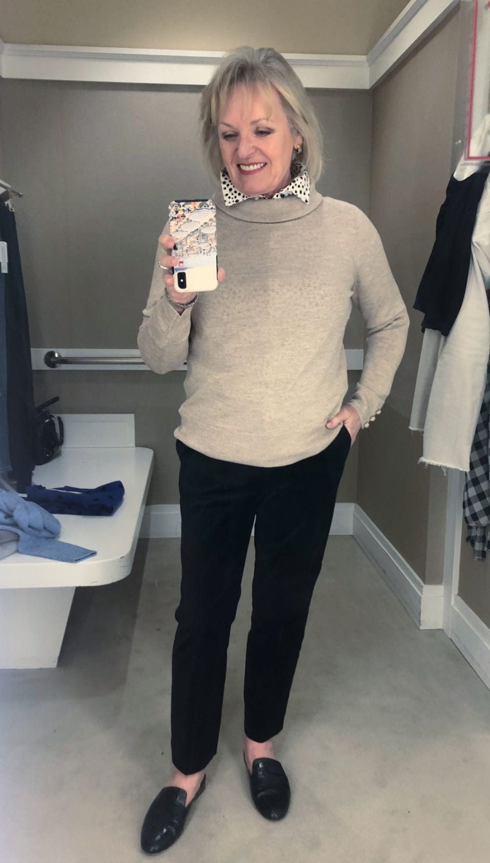 sparkly sweater and velvet pants worn by jennifer connolly in Talbots dressing room