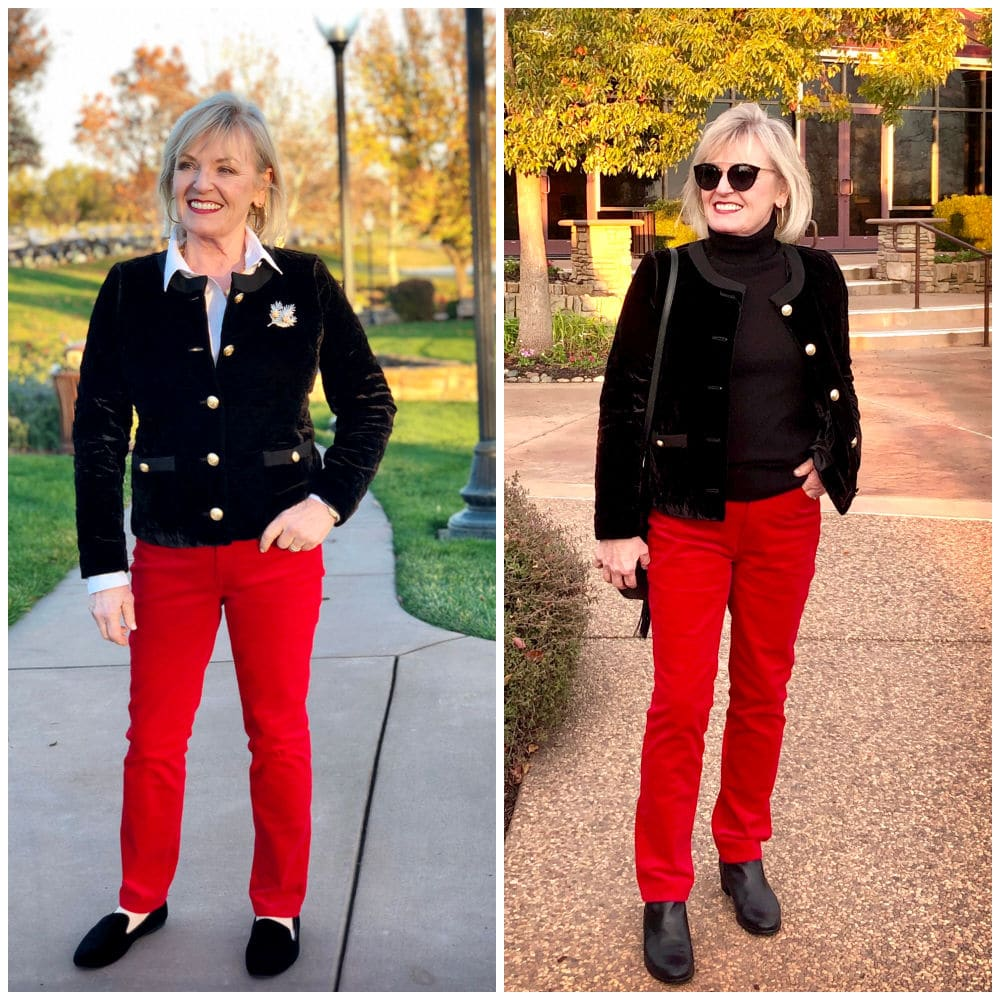 fashion blogger jennifer of a well styled life comparing two outfits side by side