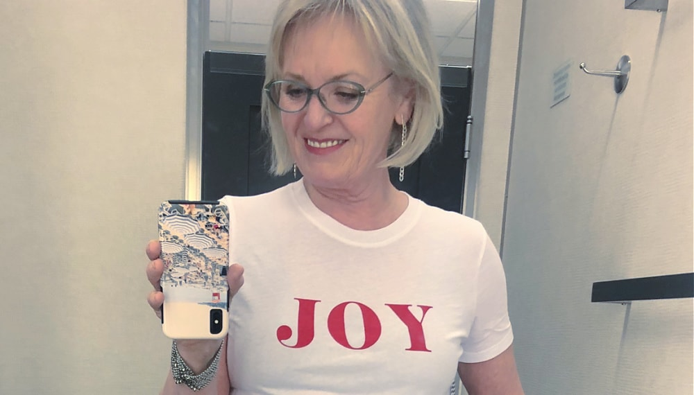 joy tee shirt on jennifer of a well styled life