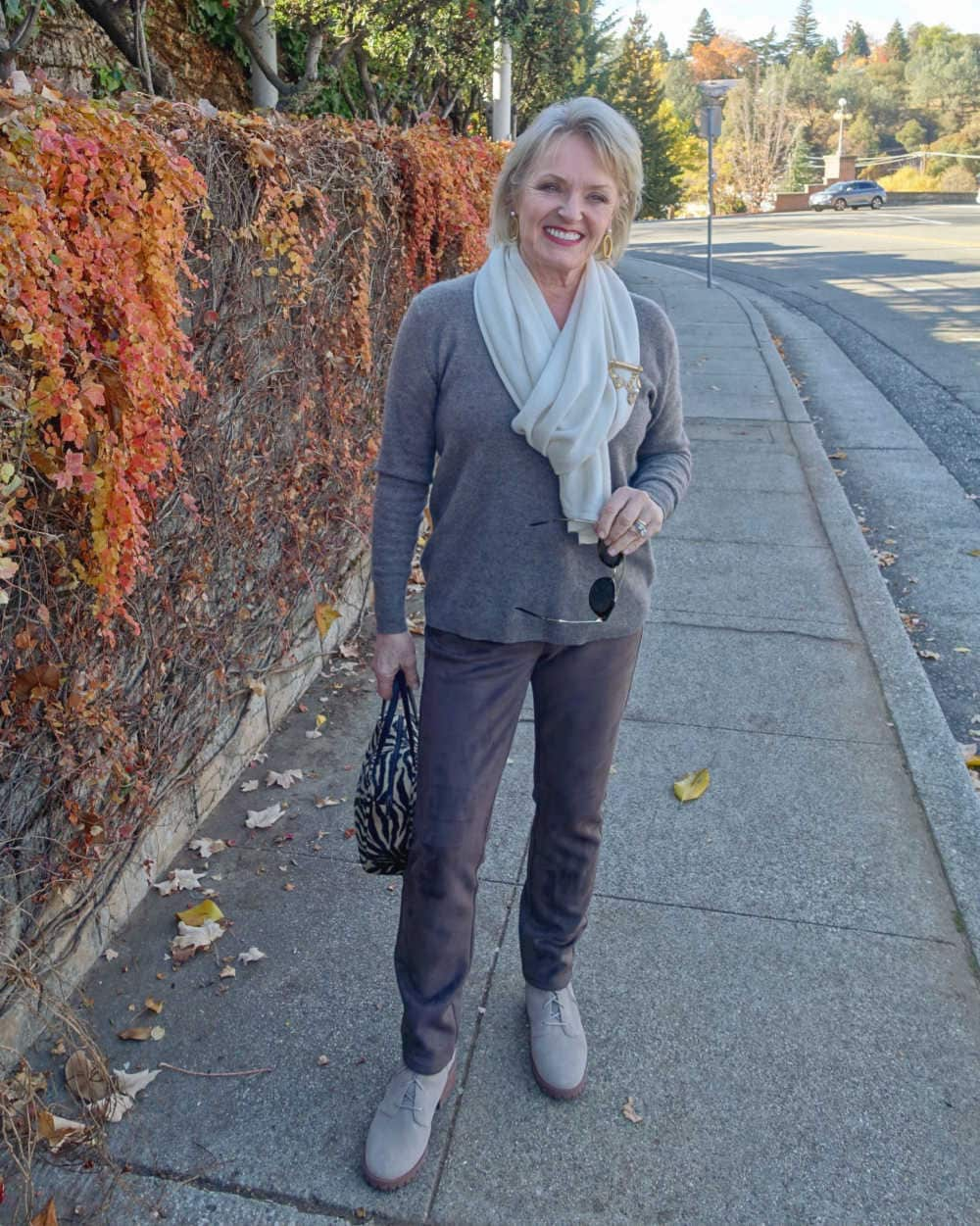 jennifer connolly of a well styled life wearing neutral outfit with varying textures