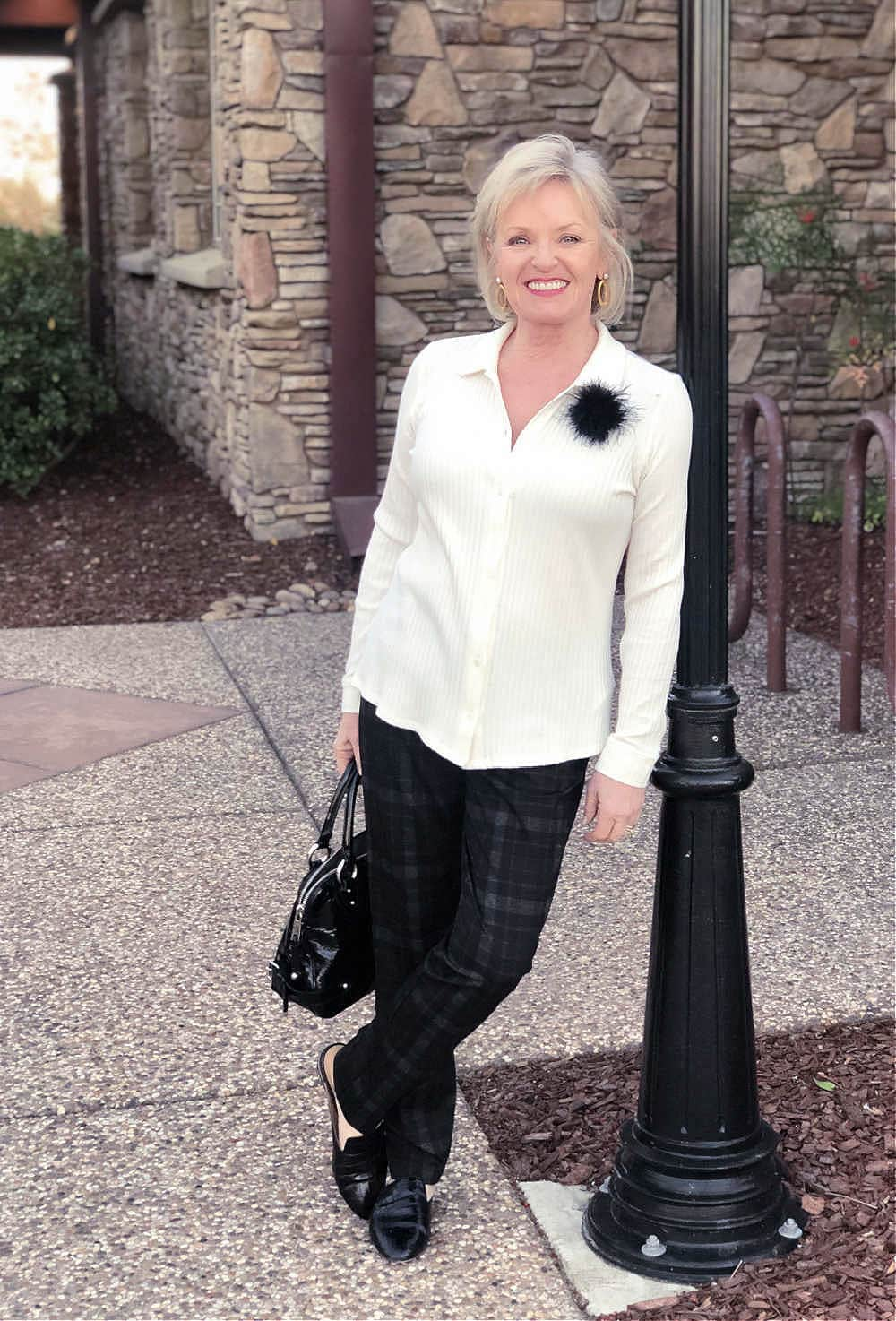 ivory top and plaid pants on jennifer of a well styled life