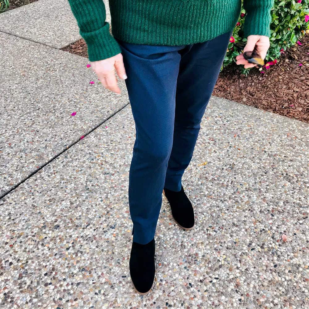 navy pants and black boots on a well styled life