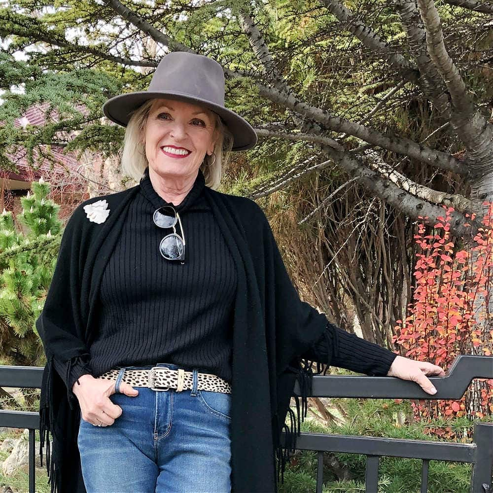 fashion blogger jennifer connolly wearing chico's coolmax turtleneck, leopard belt and brixton fedora
