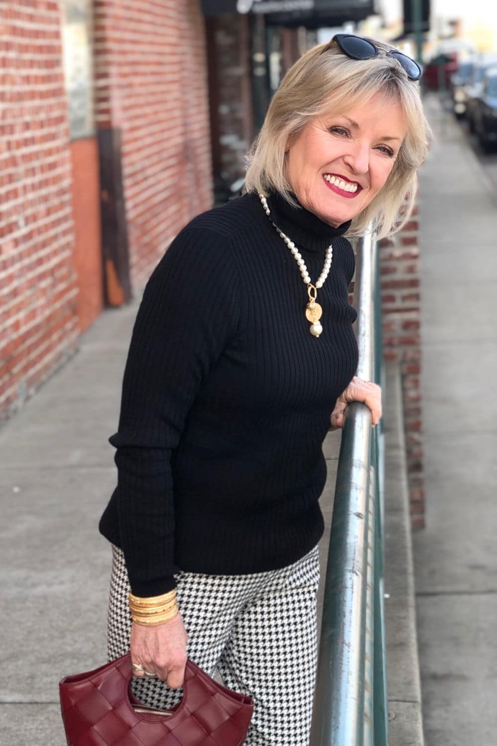 over 50 fahion blogger jennifer connolly wearing chicos coolmax turtleneck and houndstooth pants