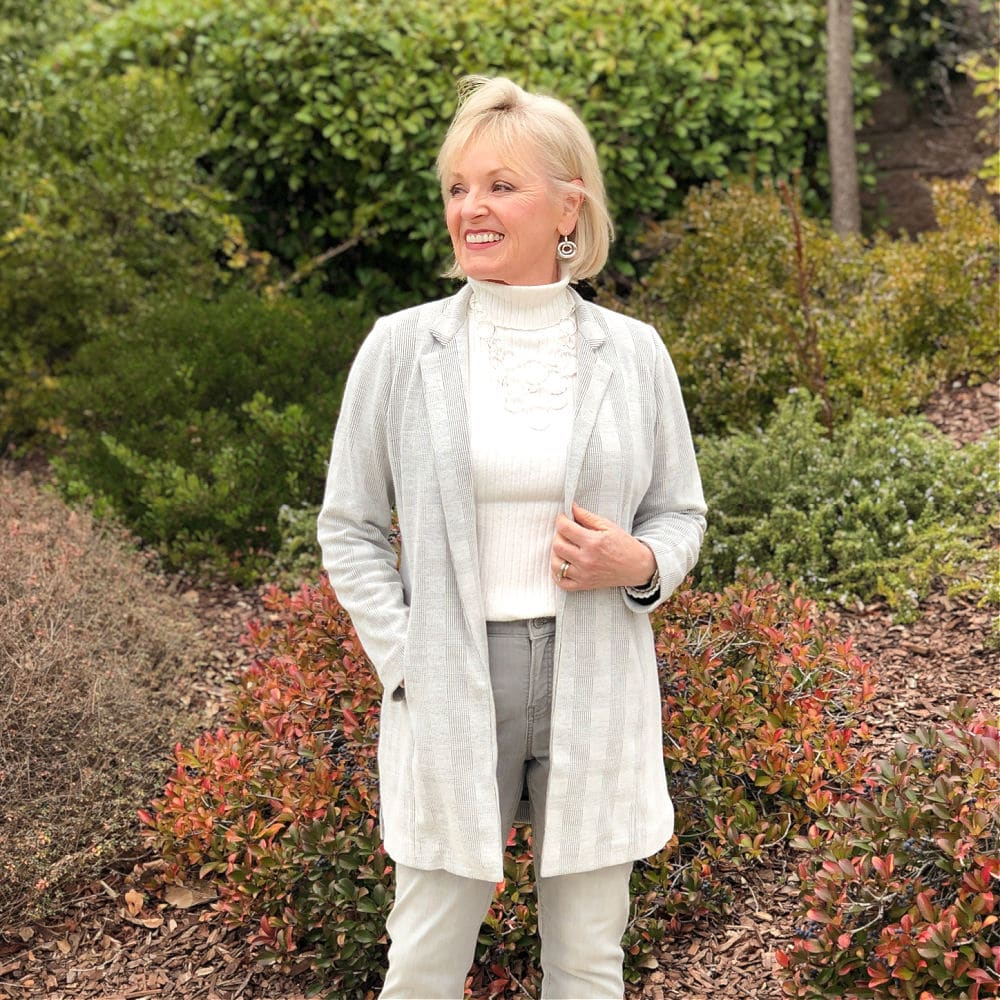 gray boyfriend blazsr and jeans from chico's worn by jennifer of a well styled life