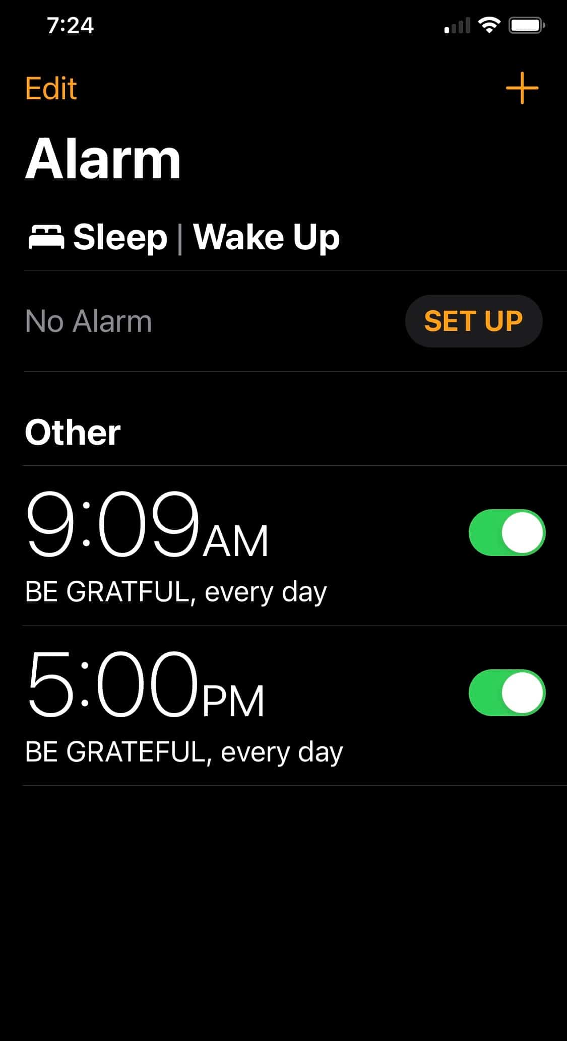 gratitude alarm on iphone