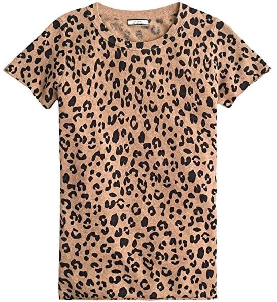 leopard print cashmere tee