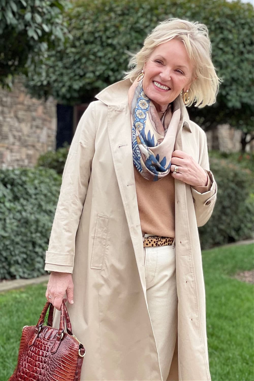 woman wearing sabina savage scarf and loft coat