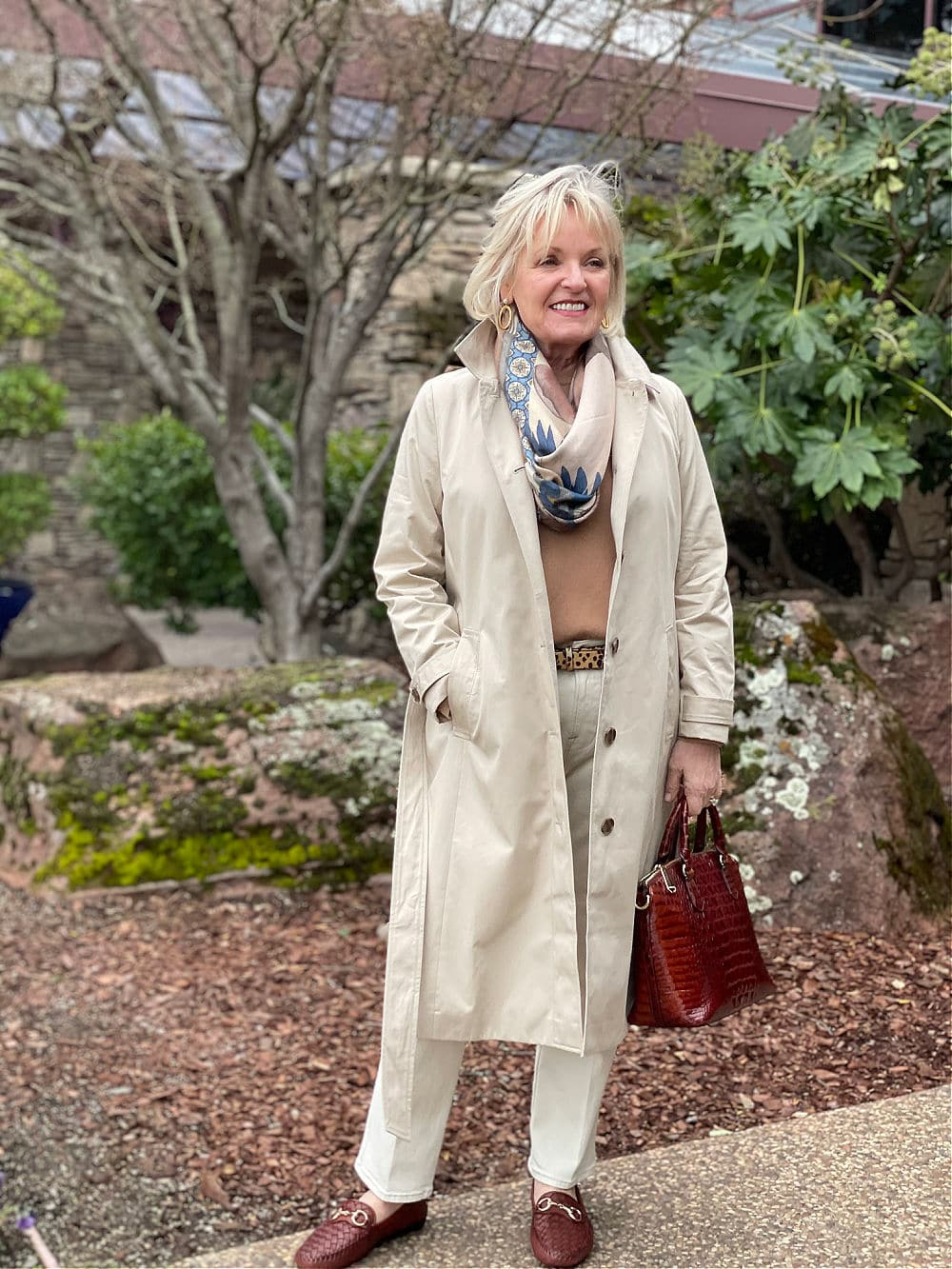 casual outfit with trench coat on jennifer of a well styled life