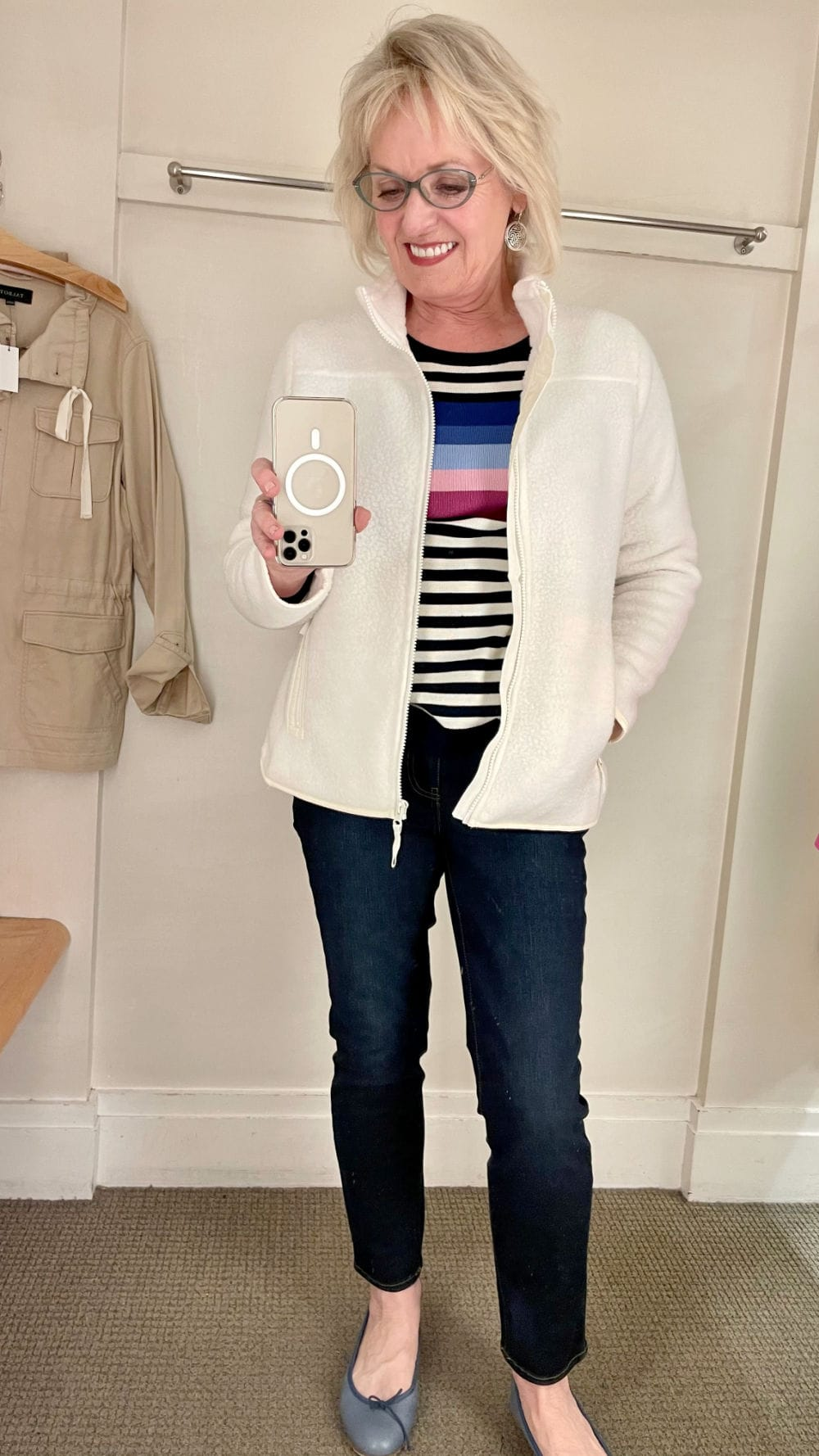 ivory T talbots jacket over navy terry pants