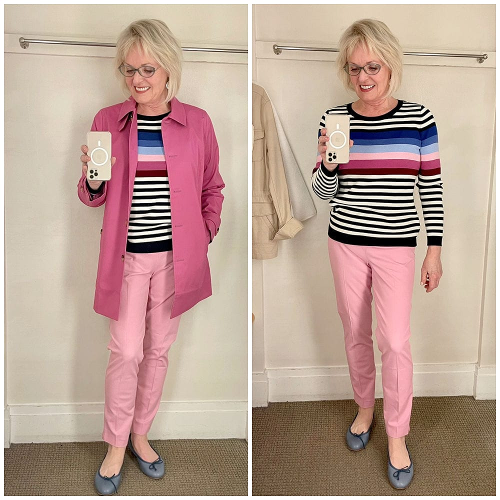 side by side photo of pink pants and striped sweater