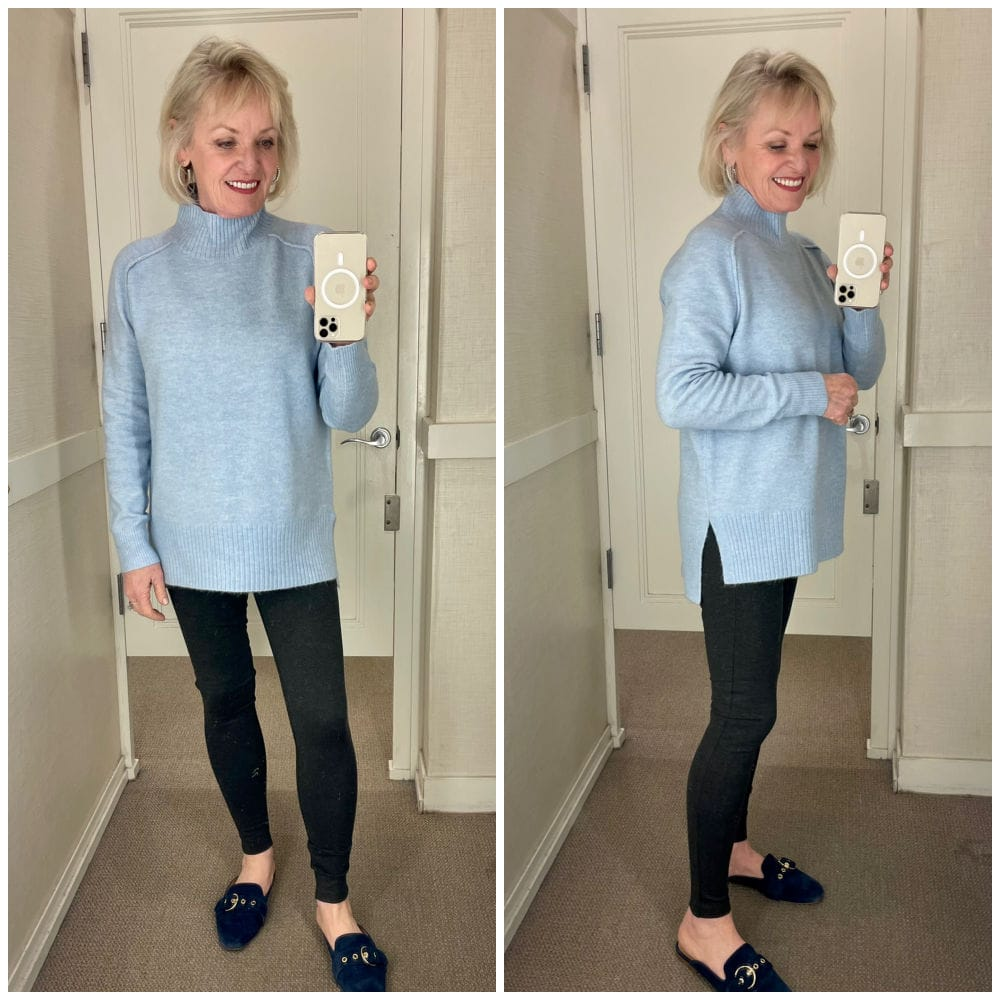 two views of blue tunic sweater and leggings in dressing room at loft