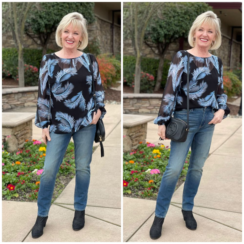 side by side of sheer blouse tucked and untucked