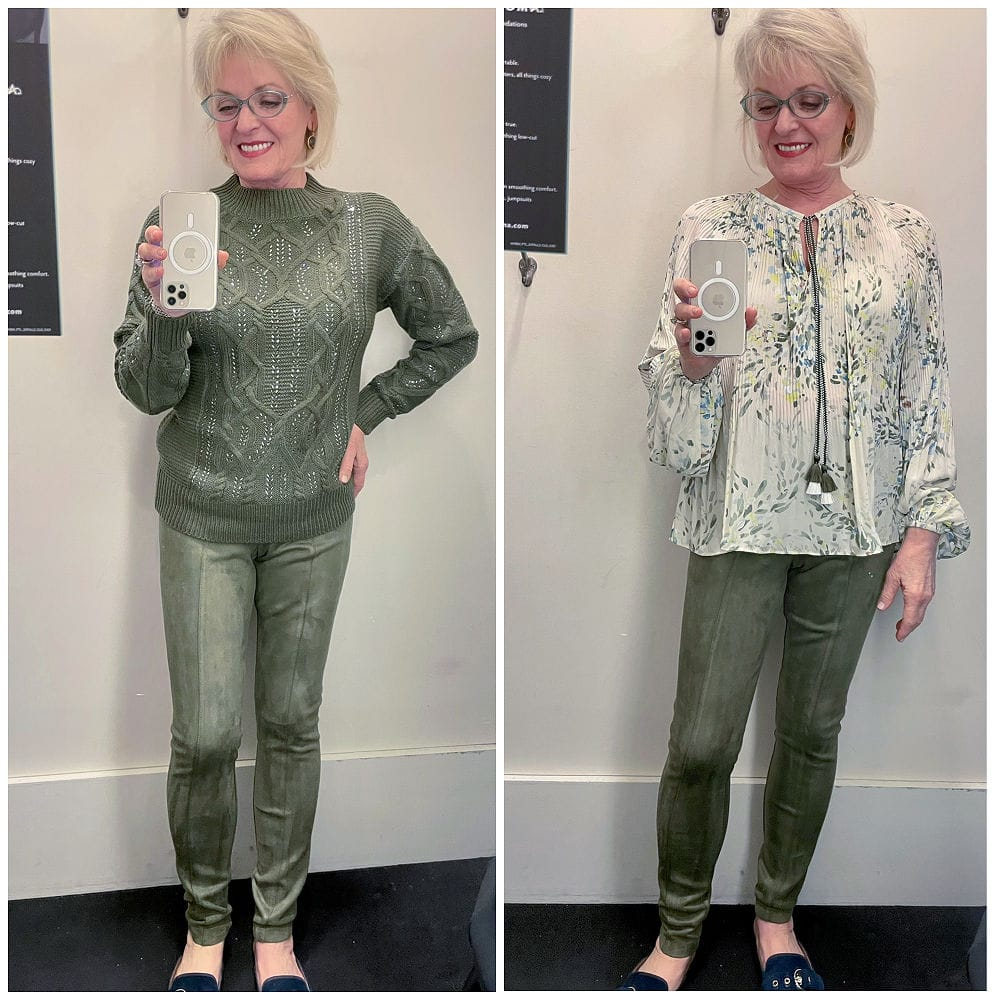 woman show two different tops worn with green leggings